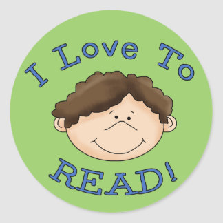 I Love to Read Boy Round Sticker