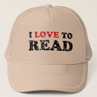 I Love To Read Distressed Trucker Hat