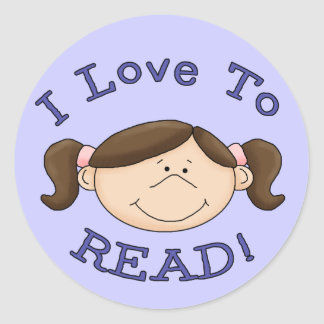 I Love to Read Girl Round Sticker