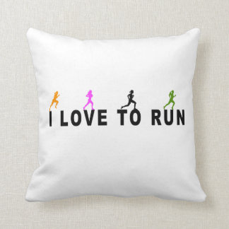 I Love To Run Throw Pillow