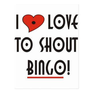 I Love to Shout  BINGO Postcard