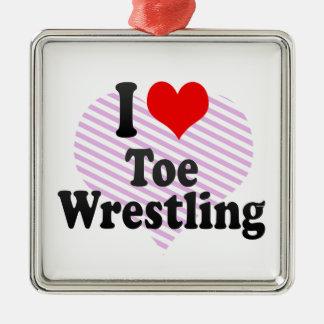 I love Toe Wrestling Silver-Colored Square Decoration