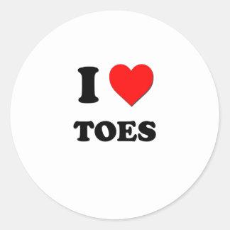 I love Toes Round Sticker