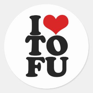 I Love Tofu Funny Vegan humour Round Sticker