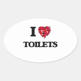 I love Toilets Oval Sticker