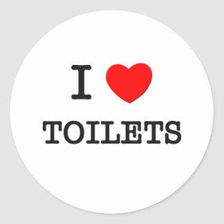 I Love Toilets Round Stickers