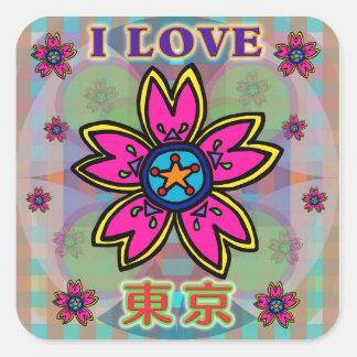 """I LOVE TOKYO"" Flowers Kanji Sticker"