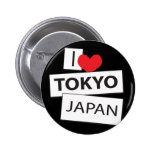 I Love Tokyo Japan Buttons