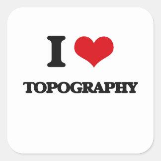 I love Topography Square Sticker