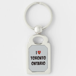 I Love Toronto, Ontario Silver-Colored Rectangle Key Ring