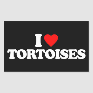 I LOVE TORTOISES RECTANGULAR STICKER