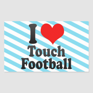 I love Touch Football Rectangle Sticker