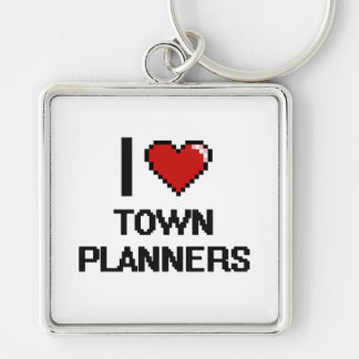 I love Town Planners Silver-Colored Square Key Ring