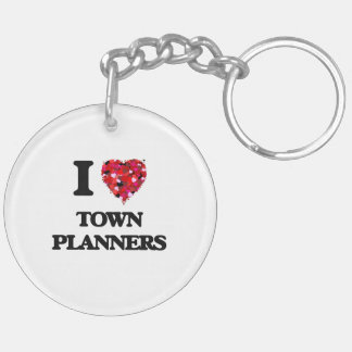 I love Town Planners Double-Sided Round Acrylic Key Ring