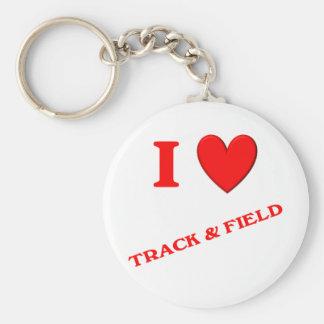 I Love Track and Field Keychain
