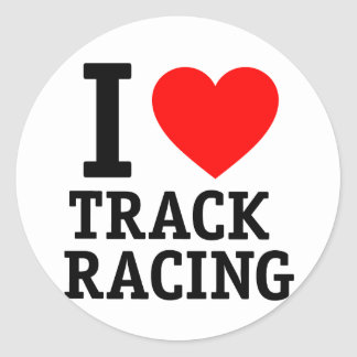 I Love Track Racing Round Stickers
