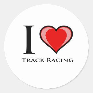 I Love Track Racing Round Sticker