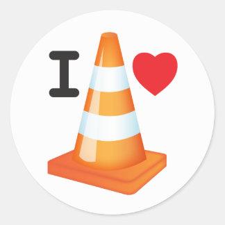 I Love Traffic Cones Orange White Cone Commuter Classic Round Sticker