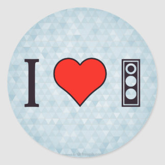 I Love Traffic Lights Round Sticker