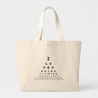 I LOVE TRAINS EYE CHART LARGE TOTE BAG