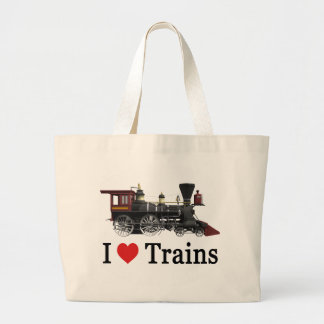 I Love Trains Large Tote Bag