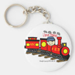 I LOVE TRAINS - LOVE TO BE ME.png Basic Round Button Key Ring
