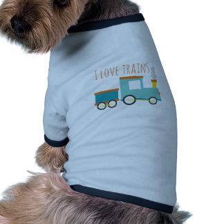 I Love Trains Ringer Dog Shirt