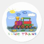 I Love Trains Round Sticker