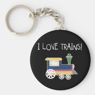 I Love Trains Tshirts and Gifts Basic Round Button Key Ring