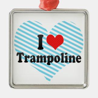 I Love Trampoline Silver-Colored Square Decoration