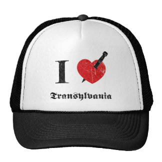 I love Transylvania black eroded Font Mesh Hats