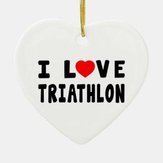 I Love Triathlon Christmas Ornament