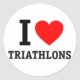 I Love Triathlon Classic Round Sticker