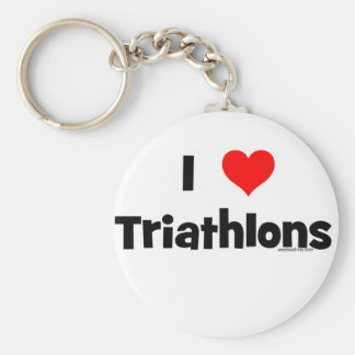 I Love Triathlons Key Ring