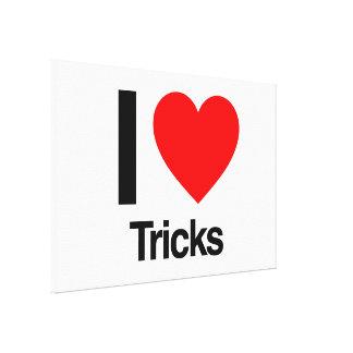 i love tricks stretched canvas prints