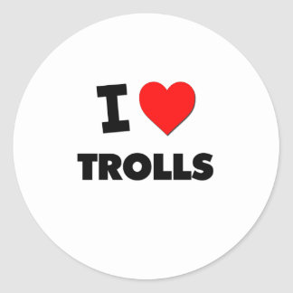 I love Trolls Round Stickers