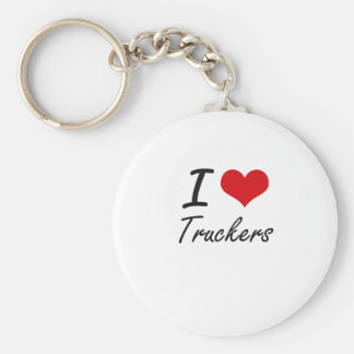 I love Truckers Basic Round Button Key Ring