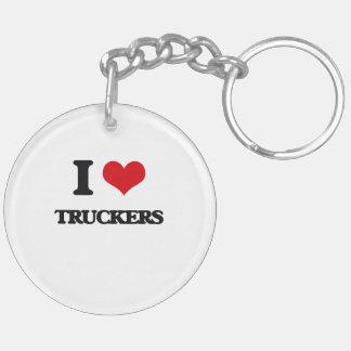 I love Truckers Double-Sided Round Acrylic Key Ring