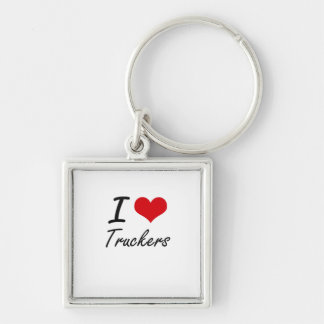 I love Truckers Silver-Colored Square Key Ring