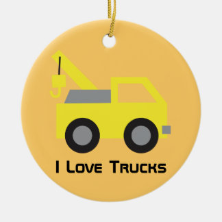 I love Trucks, Cute Yellow Vehicle for kids Christmas Ornament