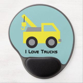 I love Trucks, Cute Yellow Vehicle for kids Gel Mouse Mat