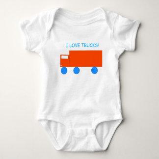 'I love Trucks!' Orange Toy Truck Baby Bodysuit