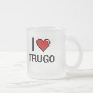 I Love Trugo Digital Retro Design Frosted Glass Mug