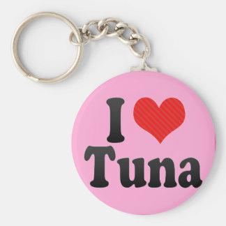 I Love Tuna Basic Round Button Key Ring
