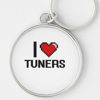 I love Tuners Silver-Colored Round Key Ring