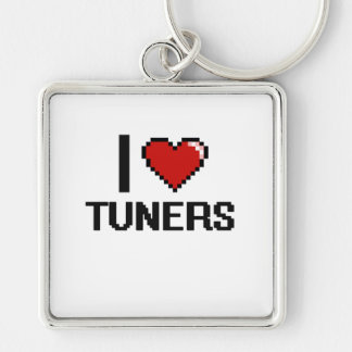 I love Tuners Silver-Colored Square Key Ring