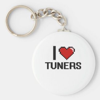 I love Tuners Basic Round Button Key Ring