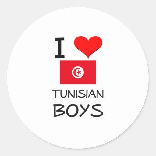 I Love Tunisian Boys Round Stickers