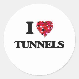 I love Tunnels Round Sticker