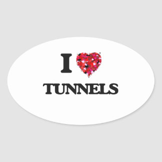 I love Tunnels Oval Sticker
